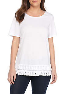 Short Sleeve Knit Top with Tassels