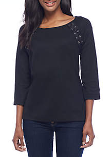 Solid Lace-Up Elbow Sleeve Tee