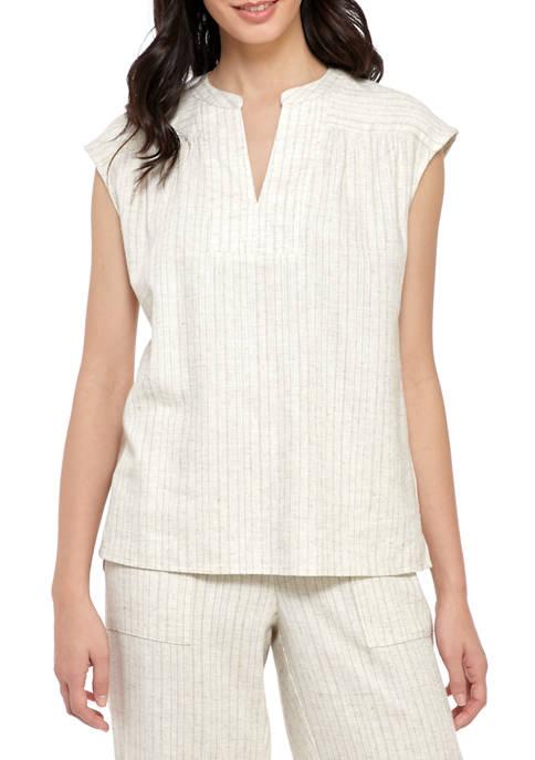 Womens Yarn Dye Linen Sleeveless Top