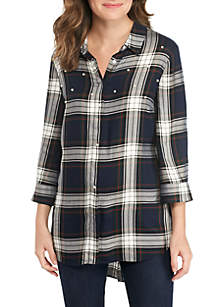 Plaid Top with Pearls