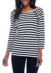 Stripe Lace-Up Elbow Sleeve Top