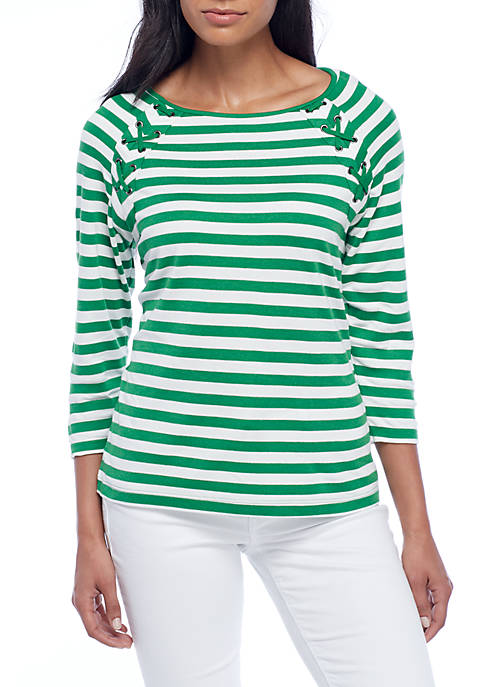 Sharagano Stripe Lace-Up Elbow Sleeve Top