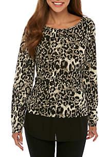 Leopard Knit 2Fer Top