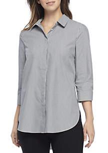 Three-Quarter Sleeve Striped Tunic