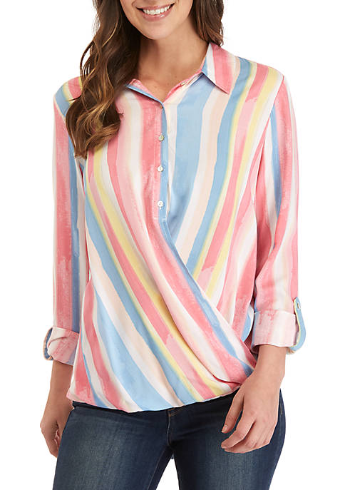 Roll Tab Sleeve Stripe Button Up Top