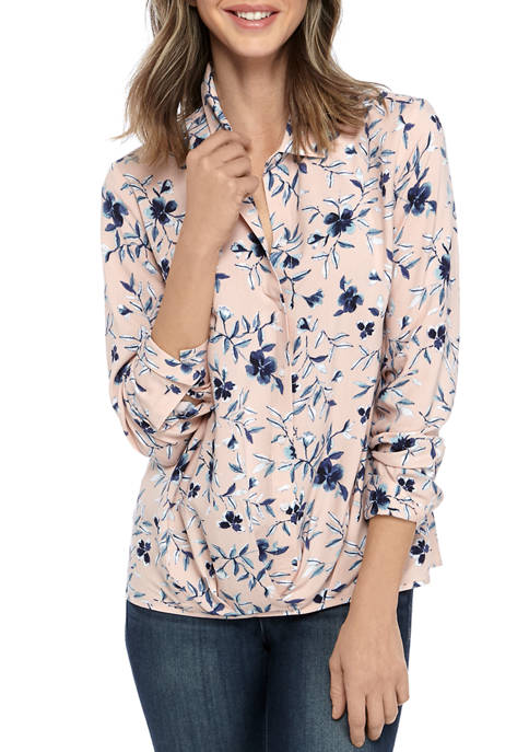 Womens Printed Challis Twist Front Blouse