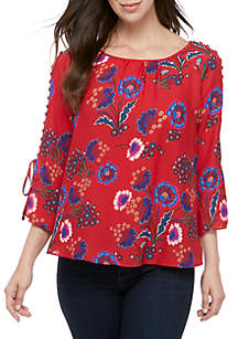Sharagano Button Sleeve Floral Top