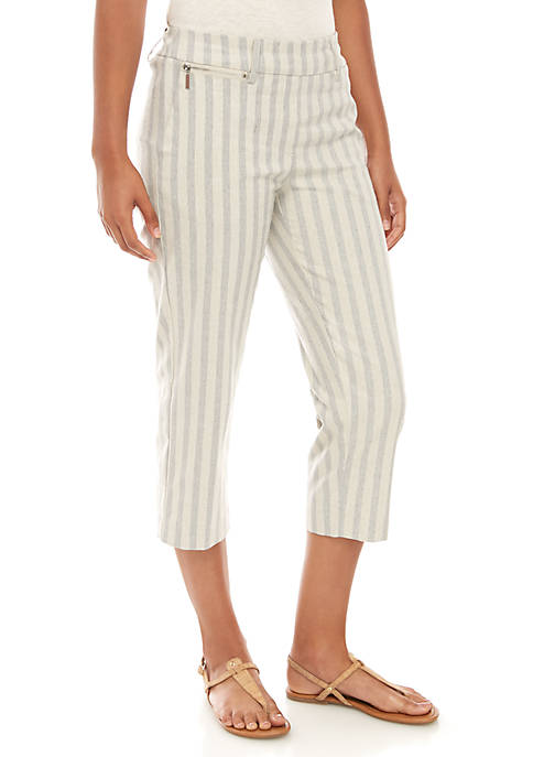 Sharagano Stripe Linen Capris