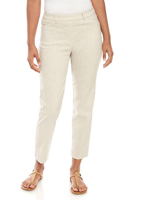 Sharagano Pull On Mini Stripe Linen Pants