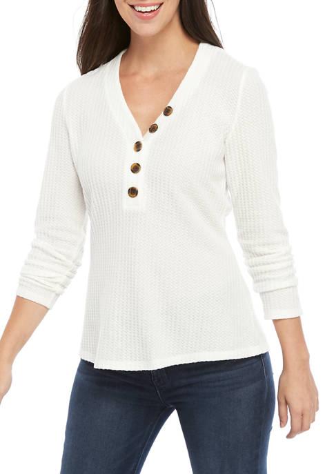 Womens Henley Waffle Knit Shirt