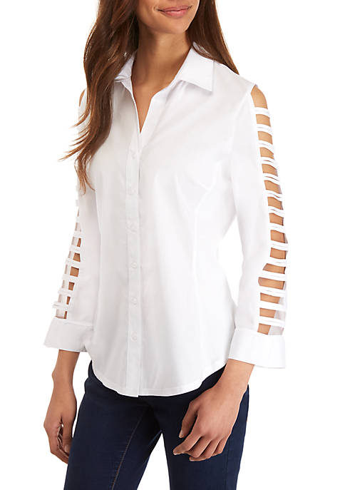 White Lattice Sleeve Button Front Top
