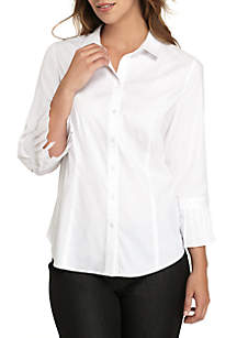 Solid Shirt with Ruffle Cuff Sleeve