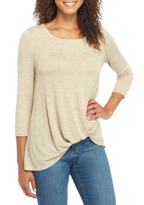 Womens Hacci Knot Front Top
