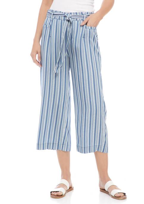 Womens Tie Waist Striped Tencel® Pants
