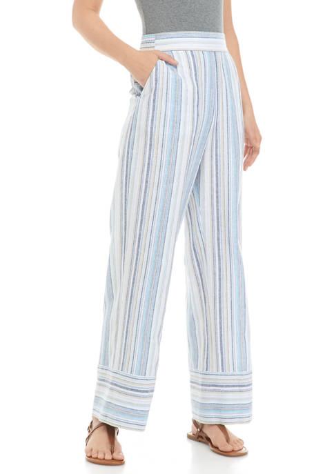 Sharagano Womens Striped Linen Drawstring Pants