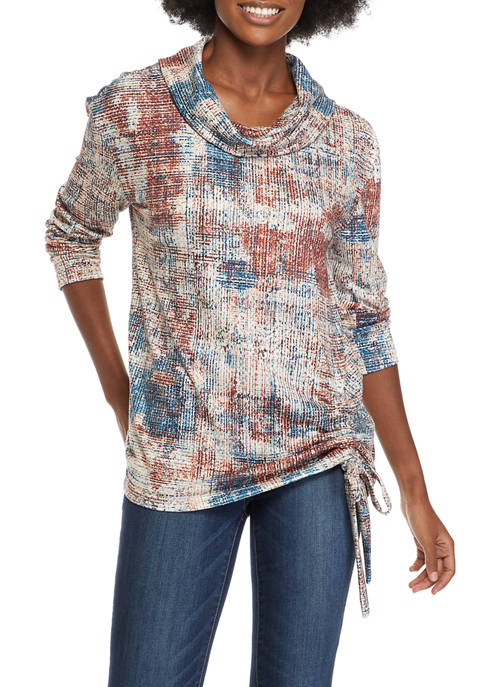 Sharagano Womens Cinch Front Printed Pullover