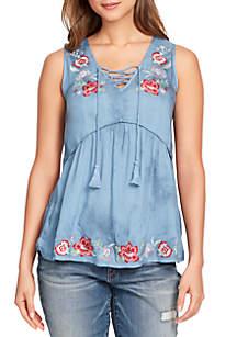 Gabriella Tie Dye Embroidered Top