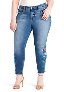 Plus Size Floral Boho Skinny Ankle Jeans
