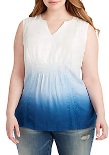 Plus Size Oasis Embroidery Gauze Top