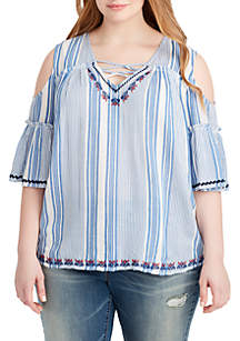 Plus Size Airana Cold-Shoulder Stripe Shirt
