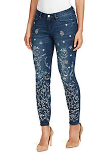 Boho Nouveau Floral Embroidered Jeans