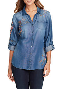 Janie Embroidered Button Front Shirt