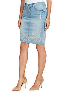 Clarissa Denim Embroidered Pencil Skirt