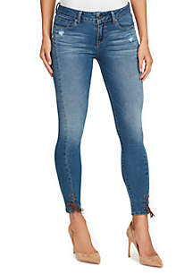 Wonderland Skinny Lace Up Hem Ankle Jeans