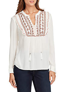 Juliana Long Sleeve Embroidered Peasant Top