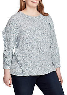 Plus Size Avril Ruffle Space Dye Pullover