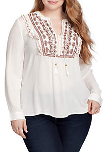 Plus Size Juliana Long Sleeve Embroidered Peasant Top