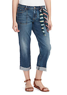 Vintage America Blues Crop Jeans with Scarf