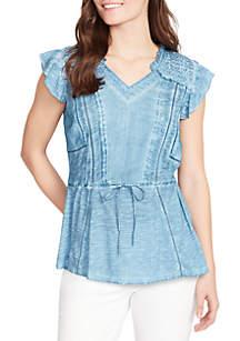 Vintage America Blues Melika Cap Sleeve Knit Top