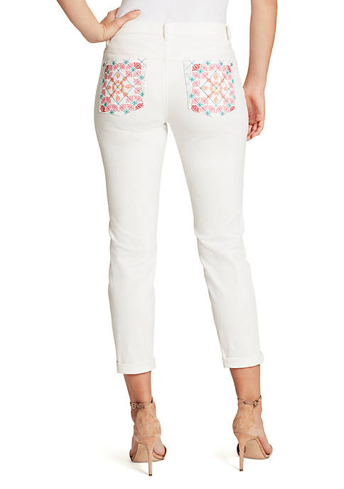 Weekend Crop Jeans with Embroidered Back