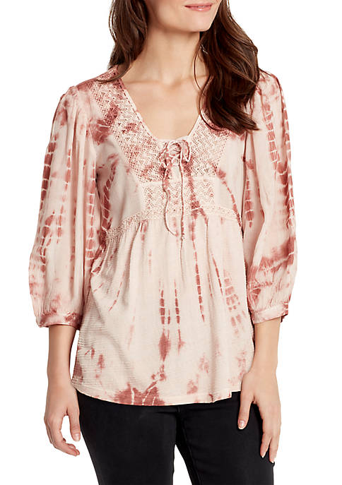 Alley V Neck 3/4 Sleeve Lace Up Blouse