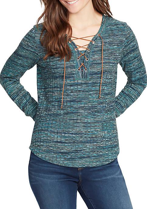 Pele Lace Up Knit Top