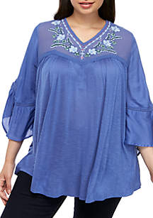 Vintage America Blues Plus Size Keira Embroidered Knit Top