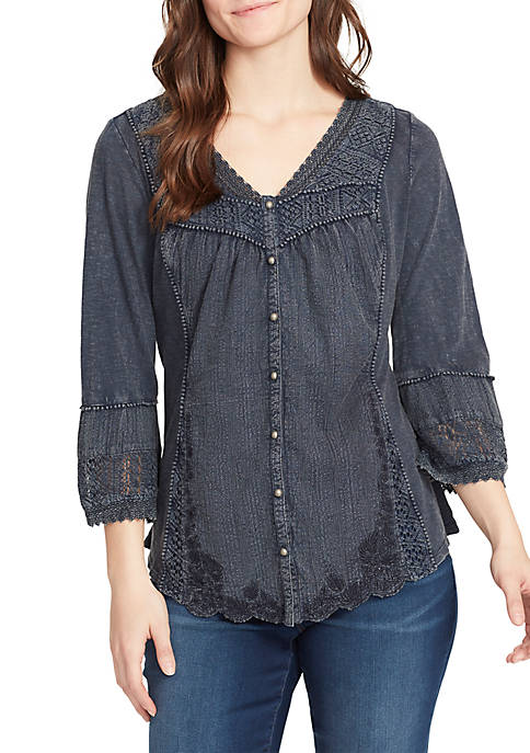 Anouk Lace Trim 3/4 Sleeve Top