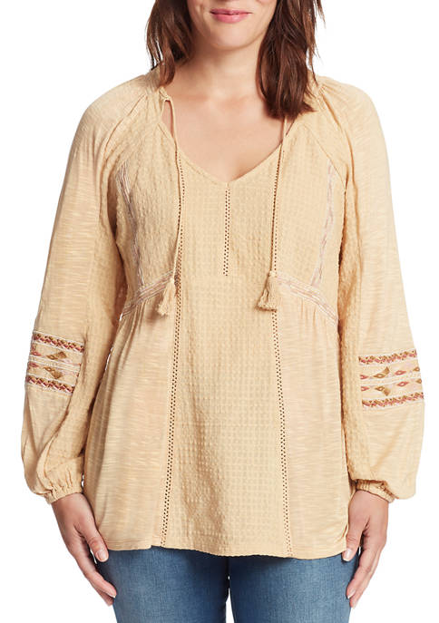 Womens Flavia Embroidery Peasant Top