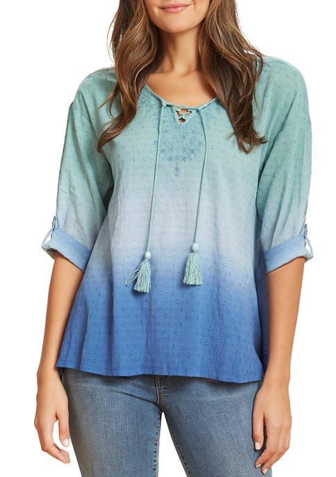 Womens Cody Embroidery Peasant Top