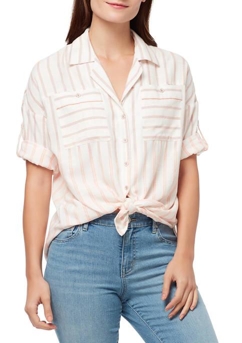 Womens Winona Short Sleeve Tie Front Top