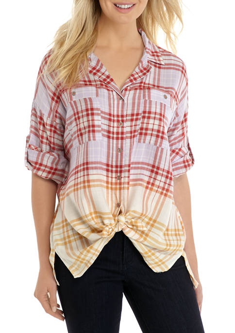 Womens Roll Tab Sleeve Tie Front Plaid Shirt