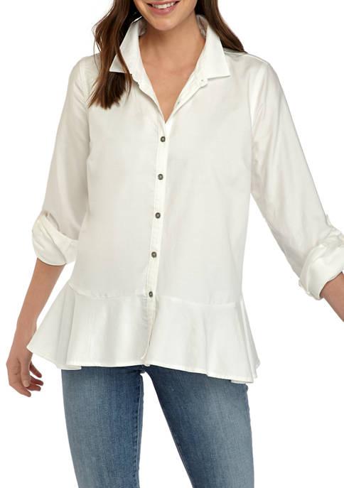 Womens Roll Tab Peplum Button Down Blouse