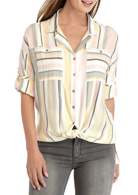 Womens Roll Tab Sleeve Tie Front Stripe Shirt