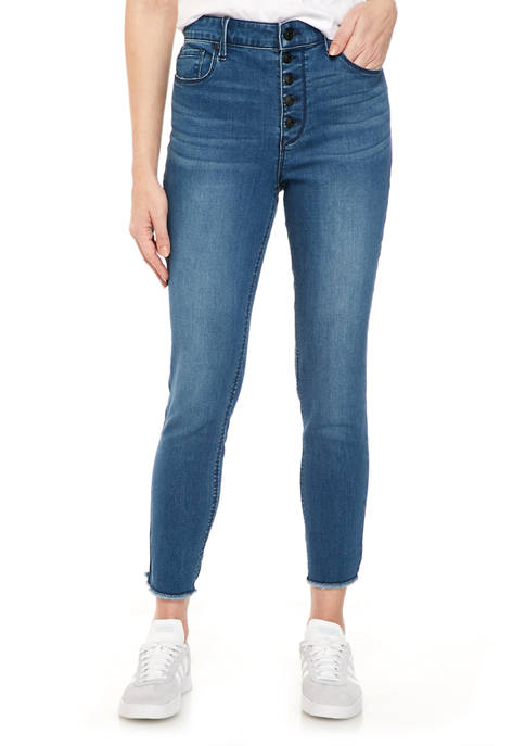 Womens Exposed Button High Rise Skinny Jeans