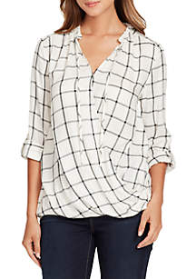 Tiffany Plaid Wrap Top With Ruffle Neck