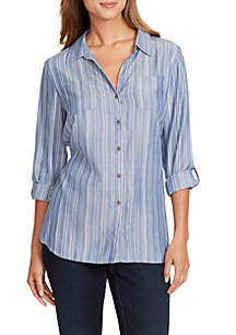 3/4 Roll-Tab Sleeve Johanna Striped Smock Shirt