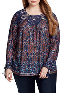 Plus Size Paisley Top with Lace Yoke