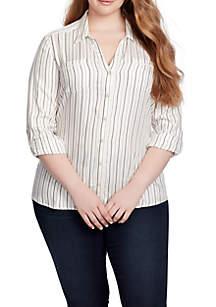 Plus Size Stripe Smock Back Button Top