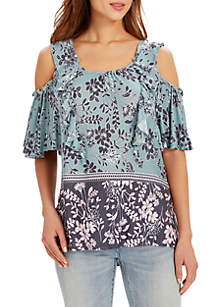 Carla Cold Shoulder Print Knit Top with Ruffles